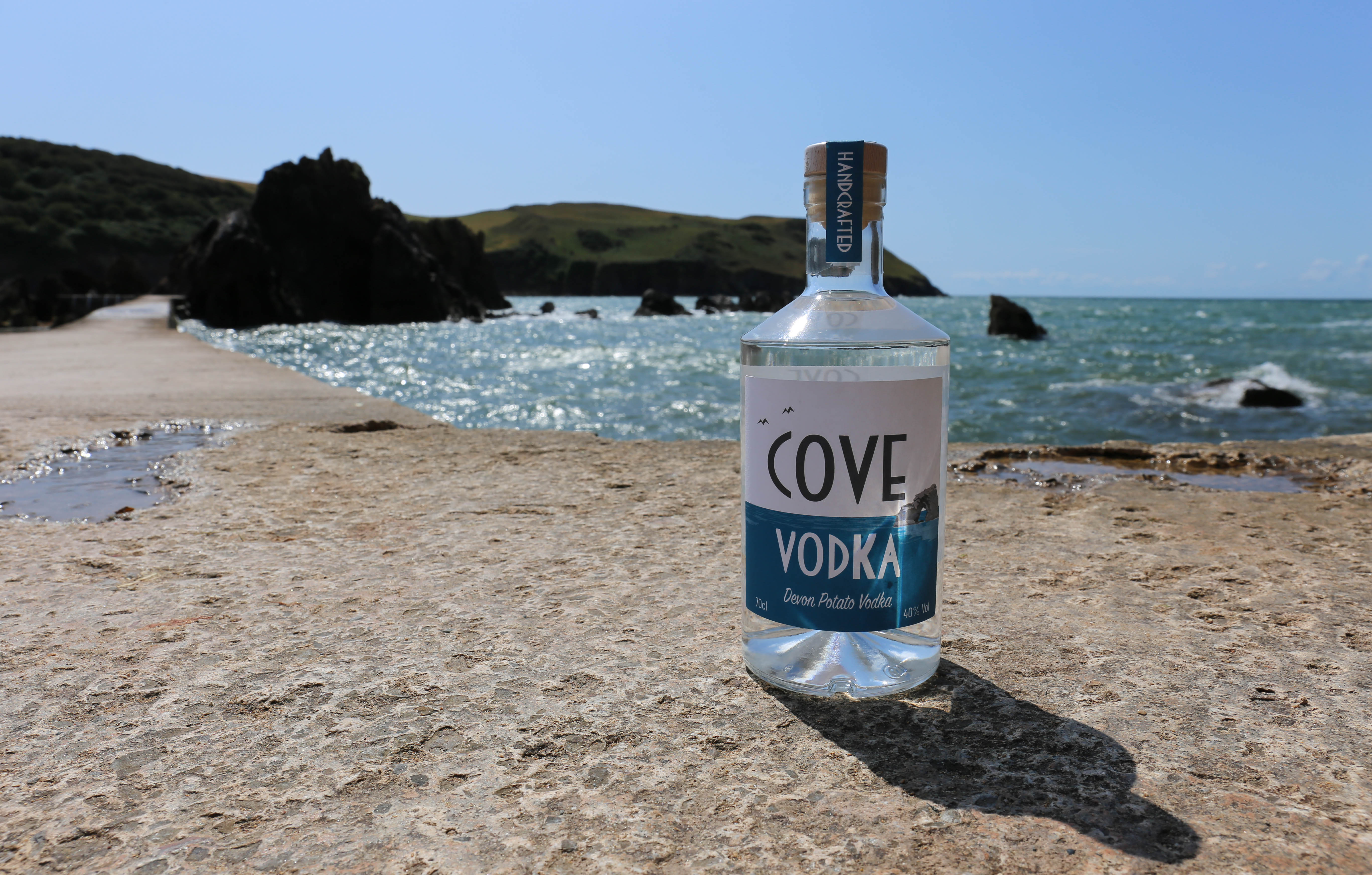 Cove Vodka on Breakwater in Hope Cove, DevonCove Vodka on Breakwater in Hope Cove, Devon