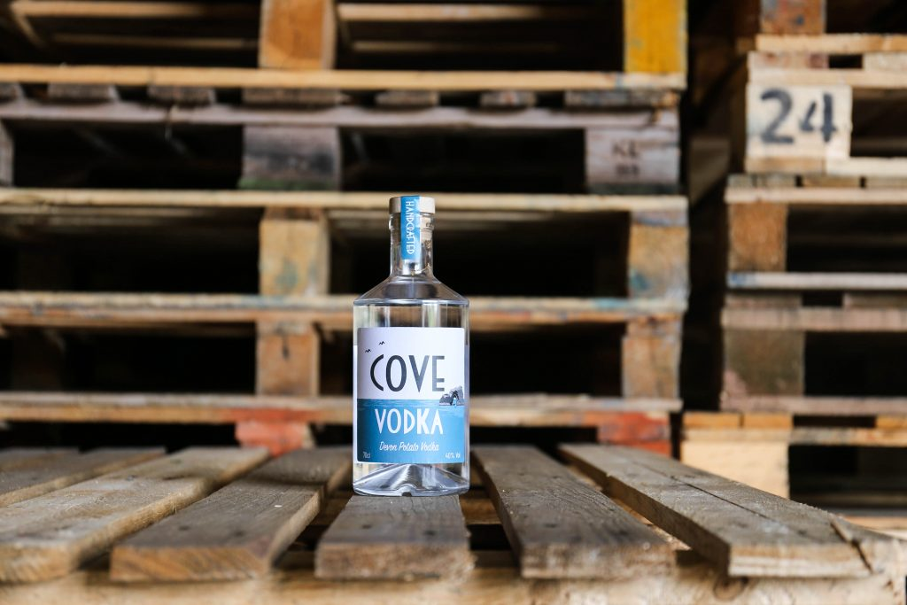 Cove Vodka on pallets