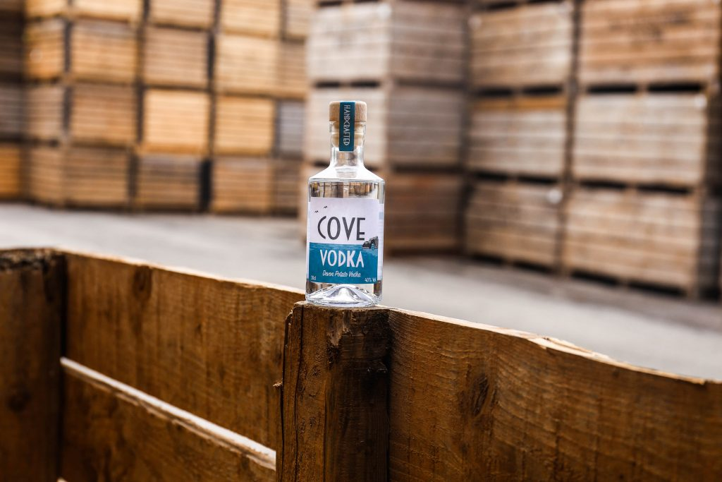 Cove Vodka on potato bin