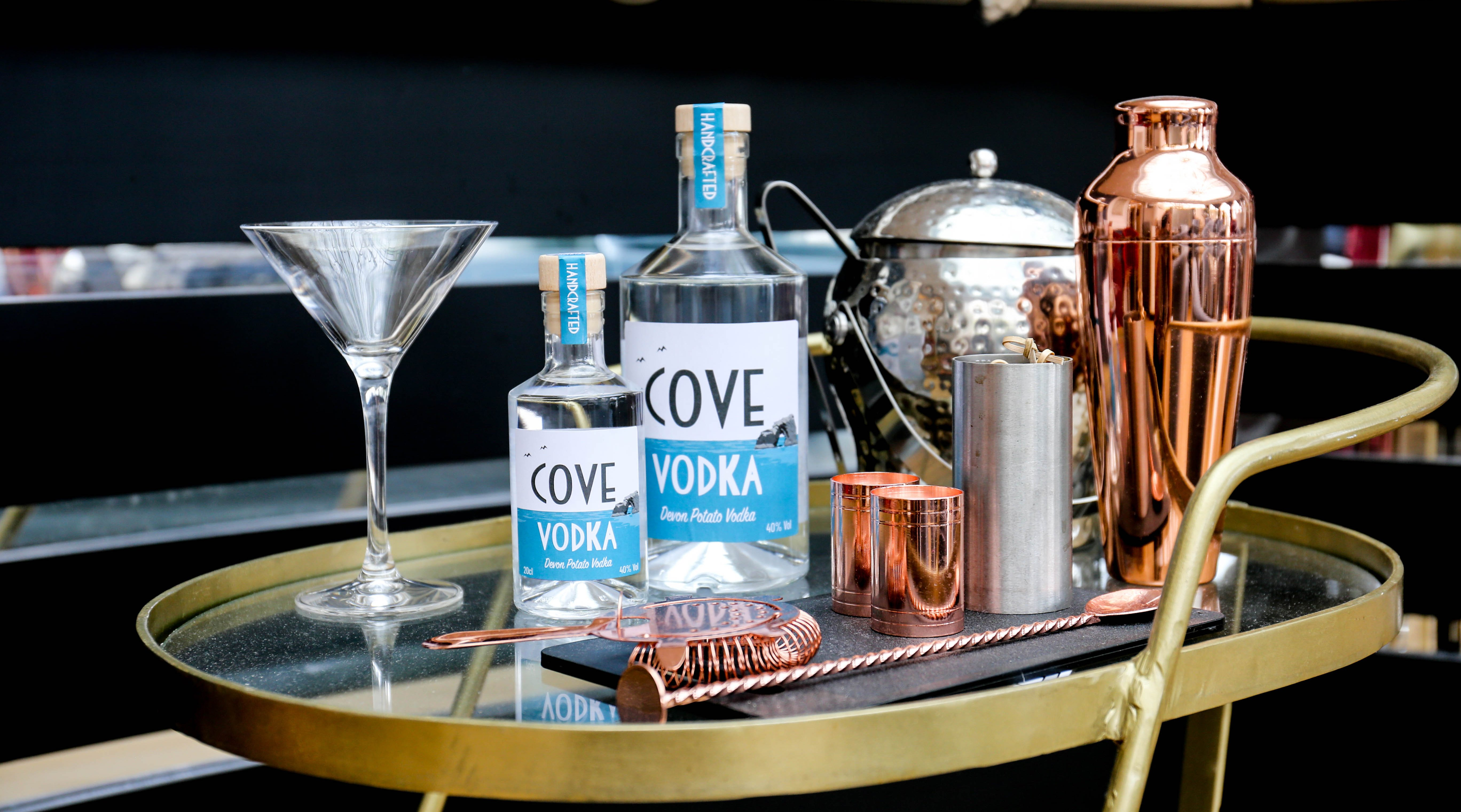 Cove Vodka Cocktail tray at Burgh Island