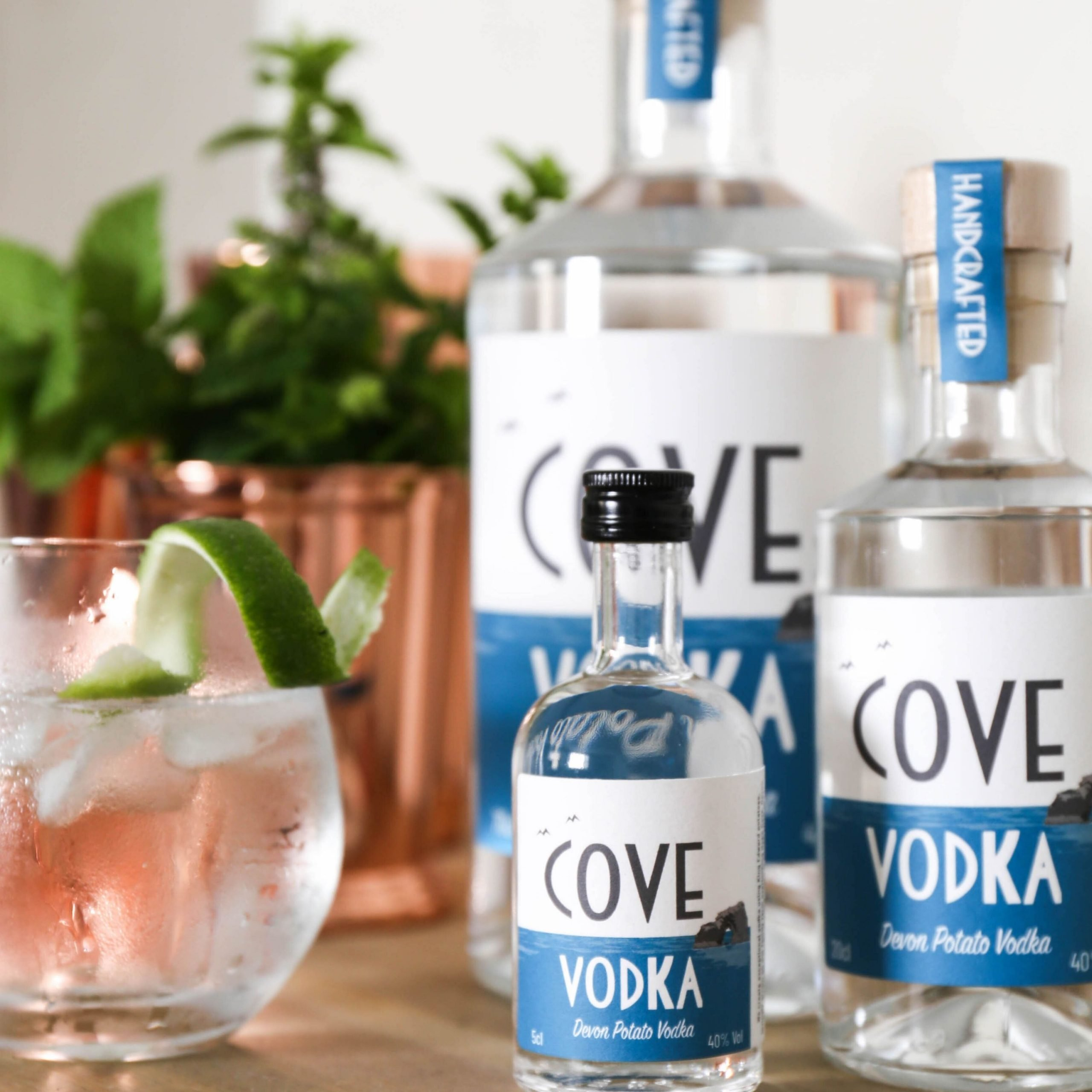 Cove Vodka Perfect serve - Vodka, lime and soda