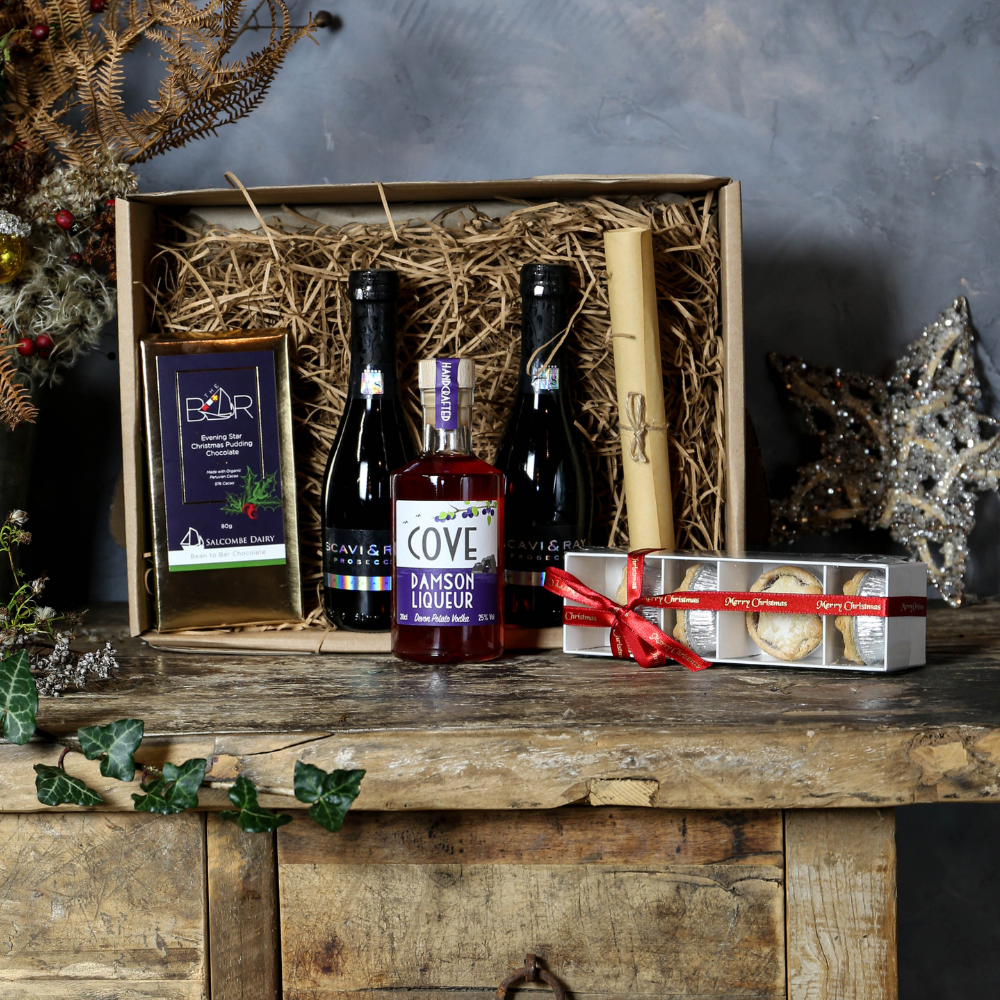 Prosecco and damson liqueur cocktail kit and festive snacks
